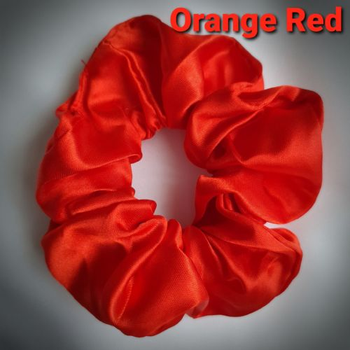 Orange Red Satin Scrunchie